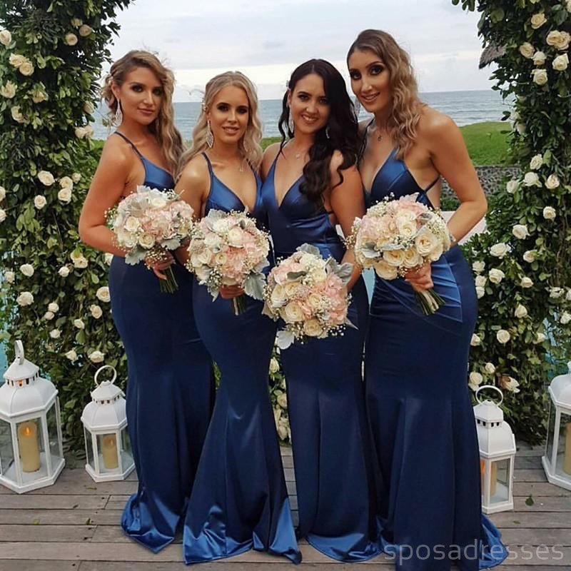 Mismatched Lace Tulle Long Bridesmaid Dresses, Cheap Custom Long Bridesmaid Dresses, Affordable Bridesmaid Gowns, BD009