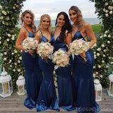 2018 Blue Mermaid V Neck Custom Long Bridesmaid Dresses, WG226