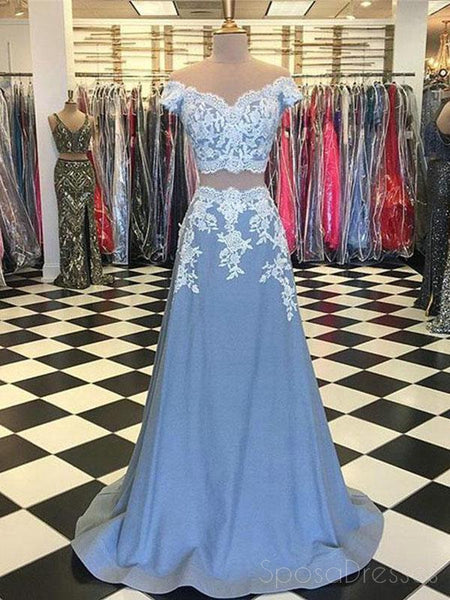 Off Shoulder Two Pieces Blue custom Long Evening Prom Dresses, 17626
