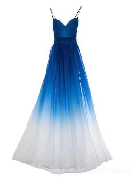 Chiffon Blue Ombre Spaghetti Straps Cheap Long Evening Prom Dresses,  Sweet16 Dresses, 18392