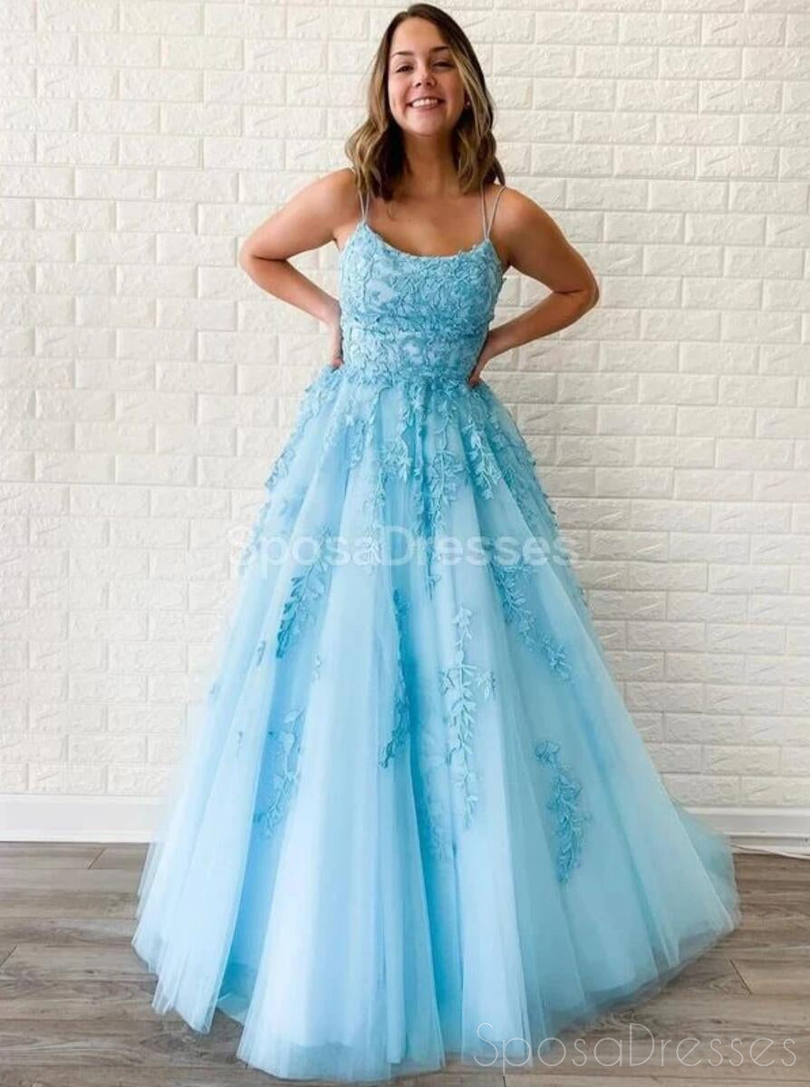 Cheap A-line Lace Beaded Spagheitt Straps Evening Prom Dresses, Evening  Party Prom Dresses, 7