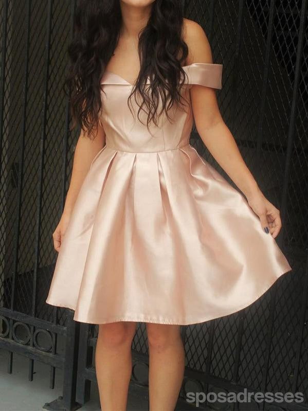Cheap Simple Off Shoulder Cute Blush Pink Homecoming Dresses 2018, CM487