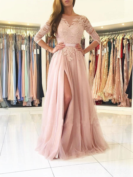 Sexy Split Blush Pink Long Sleeve Lace Evening Prom Dresses, Sexy Party Prom Dresses, 17141