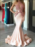 Blush Pink Mermaid Lace Applique Long Evening Prom Dresses, 17472