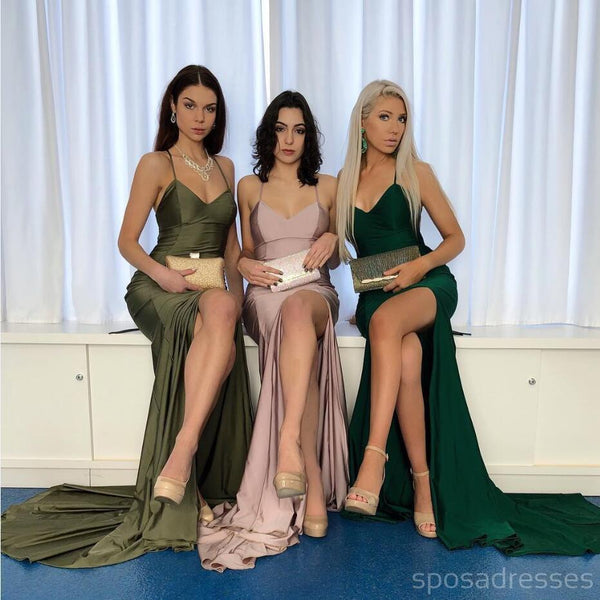 Mismatched Side Slit Sexy Mermaid Cheap Long Bridesmaid Dresses Online, WG553