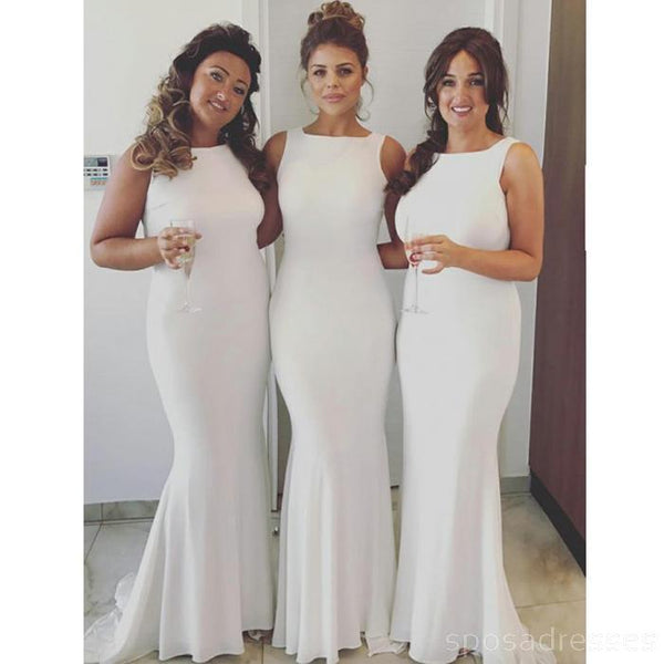 Off White Mermaid Floor Length Cheap Bridesmaid Dresses Online, WG556