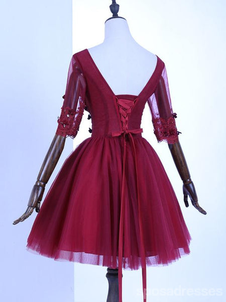 Long Sleeves Lace Burgundy Cheap Short Homecoming Dresses Online, CM668