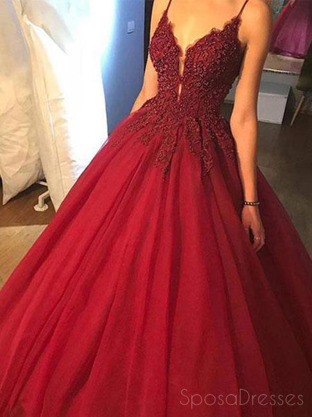b0bc8a1a39 Dark Red A line Lace Beaded V Neckline Long Evening Prom Dresses ...