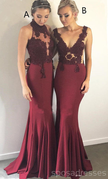 a045ed5be24 Mismatched Burgundy Mermaid Cheap Long Bridesmaid Dresses Online ...