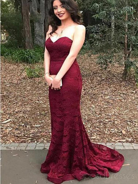 Sweetheart Red Lace Mermaid Evening Prom Dresses, 2018 Long Party Prom Dress,17087