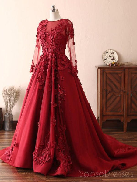 Long Sleeves Lace Dark Red Evening Prom Dresses, Cheap Custom Sweet 16 Dresses, 18533