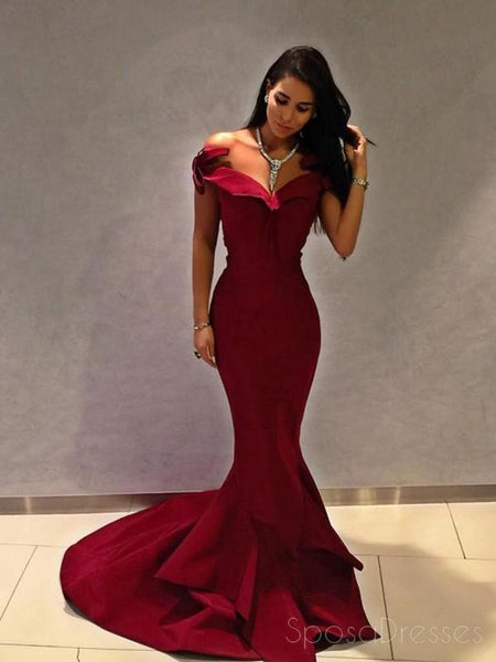 Off Shoulder Simple Maroon Long Evening Prom Dresses, Cheap Sweet 16 Dresses, 18304