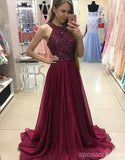 Simple Halter Burgundy Evening Prom Dresses, Custom Long Prom Dresses, Wedding Party Dresses,Long Bridesmaid Dress, PD0084