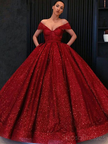528e81f929 Off Shoulder Red Sparkly Ball Gown Cheap Long Evening Prom Dresses, Cheap  Custom Sweet 16