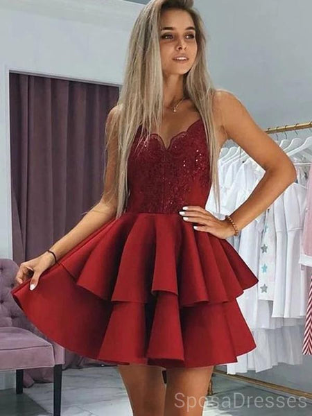 Spaghetti Straps Dark Red Short Homecoming Dresses Online, Cheap Short Prom Dresses, CM842