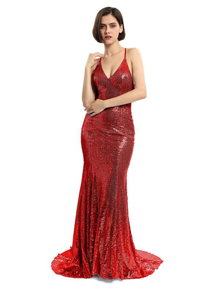 Sexy Backless Maroon Sequin Mermaid Evening Prom Dresses, Popular Party Prom Dresses, 17209