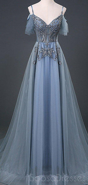 Spaghetti Straps Grey Blue Lace Beaded Cheap Long Evening Prom Dresses, Evening Party Prom Dresses, 18642
