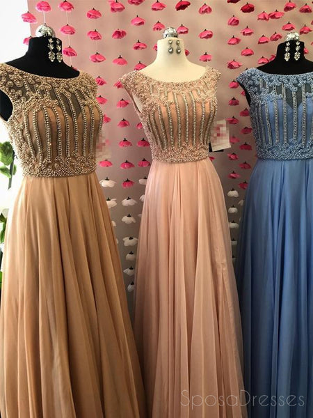 Cap Sleeve Scoop Neck Beaded Long Evening Prom Dresses, 17569