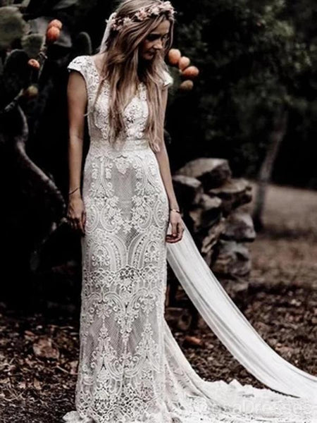Sexy Backless Cap Sleeves Lace Mermaid Cheap Wedding Dresses Online, Cheap Unique Bridal Dresses, WD586