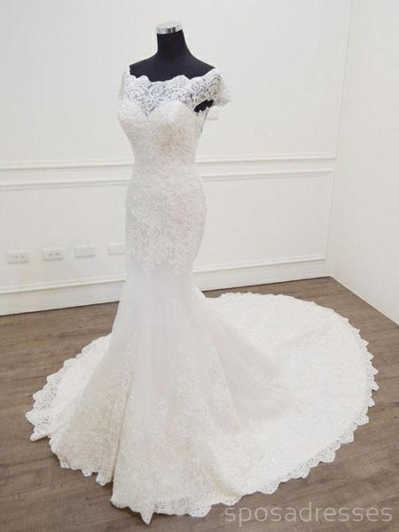 Sexy See Through Cap Sleeves Lace Wedding Dresses Online, Cheap Bridal Dresses, WD505