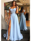 Cap Sleeves Side Slit Blue Sweetheart Long Evening Prom Dresses, Cheap Sweet 16 Dresses, 18382