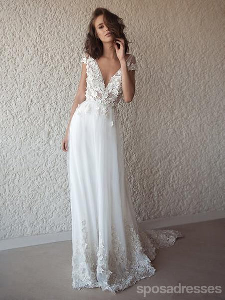 Sexy Backless Cap Sleeves Long Wedding