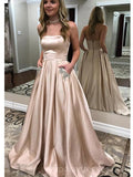 Simple Strapless Long Evening Prom Dresses With Pockets, Cheap Custom Party Prom Dresses, 18602
