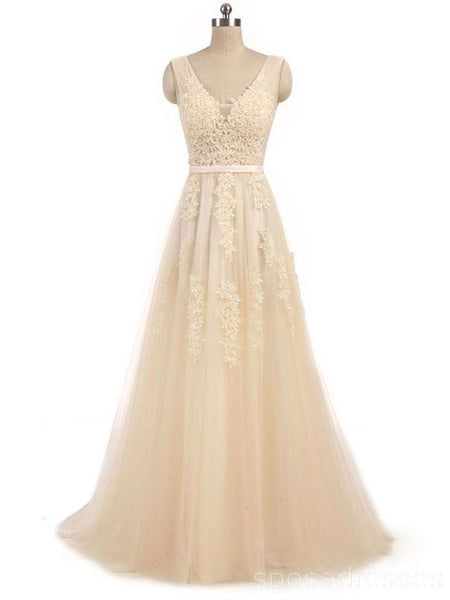 V Neck Champagne See Through Cheap Wedding Dresses Online, Cheap Bridal Dresses, WD494