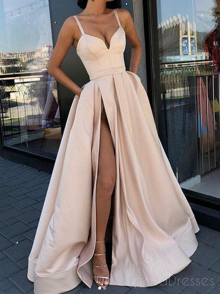 Simple Straps A-line Side Slit Lace Long Evening Prom Dresses, Cheap Sweet 16 Dresses, 18442