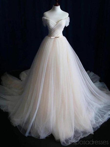 Off Shoulder Simple Ruffle Cheap Wedding Dresses Online, Cheap Bridal Dresses, WD484