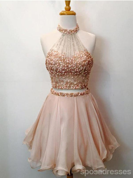 Champagne Two Pieces Beading Short Cheap Homecoming Dresses Online, CM572