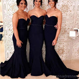 Black Mermaid Simple Long Cheap Bridesmaid Dresses Online, WG249