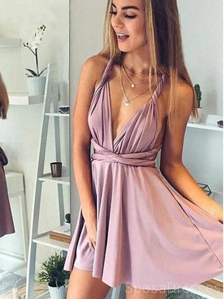 Cross Back Casual Dust Pink Short Homecoming Dresses Online, Cheap Short Prom Dresses, CM837