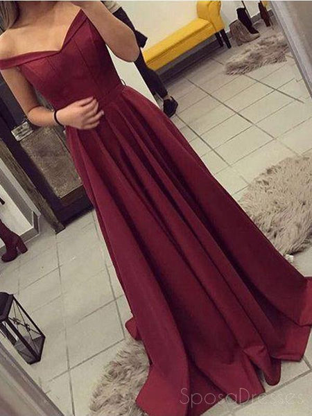 Off Shoulder Maroon Backless Evening Prom Dresses, Long Cheap Party Prom Dress, Custom Long Prom Dresses, Cheap Formal Prom Dresses, 17119