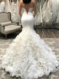 Popular Strapless Scoop Neck Mermaid Wedding Dresses Online, WD405