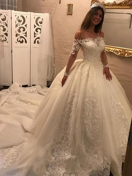 Off Shoulder Long Sleeves Lace Chapel Tail Scoop A line Wedding Dresses Online, WD406