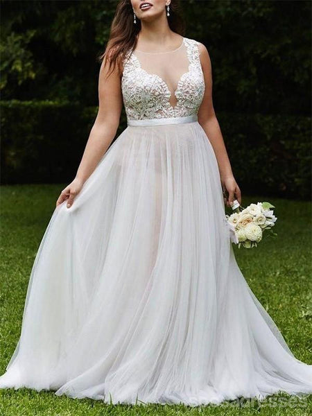 Sexy Beach See Through A line Wedding Dresses Online, WD407