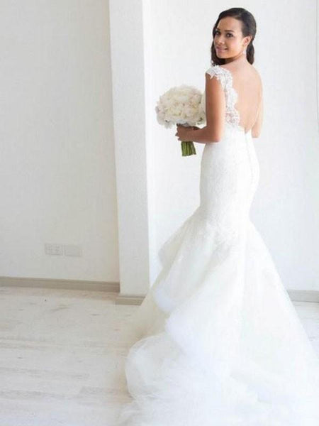 Sexy Backless Cap Sleeves Lace Mermaid Wedding Dresses Online, WD408