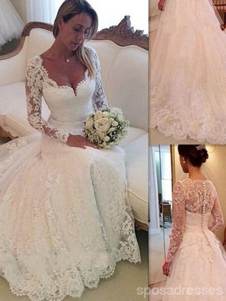 Popular Long Sleeves Lace A-line Cheap Wedding Dresses Online, WD400