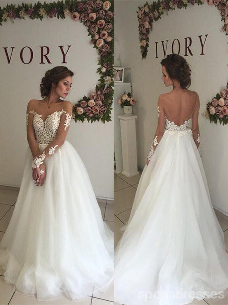 Off Shoulder Long Sleeves Lace A-line Wedding Dresses Online, WD409