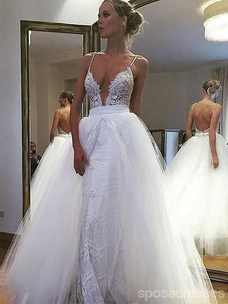 Sexy Backless Spaghetti Straps A-line Cheap Wedding Dresses Online, WD413