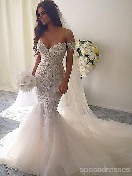 Sexy Off Shoulder Backless Lace Mermaid Wedding Dresses Online, WD420