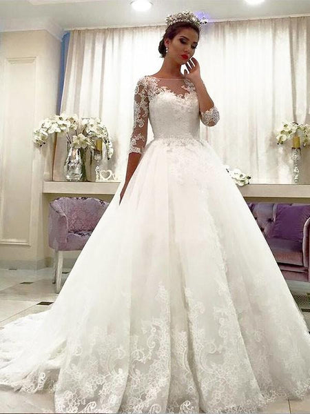 Cheap Lace Beaded A line Long Sleeve Wedding Dresses Online, WD423