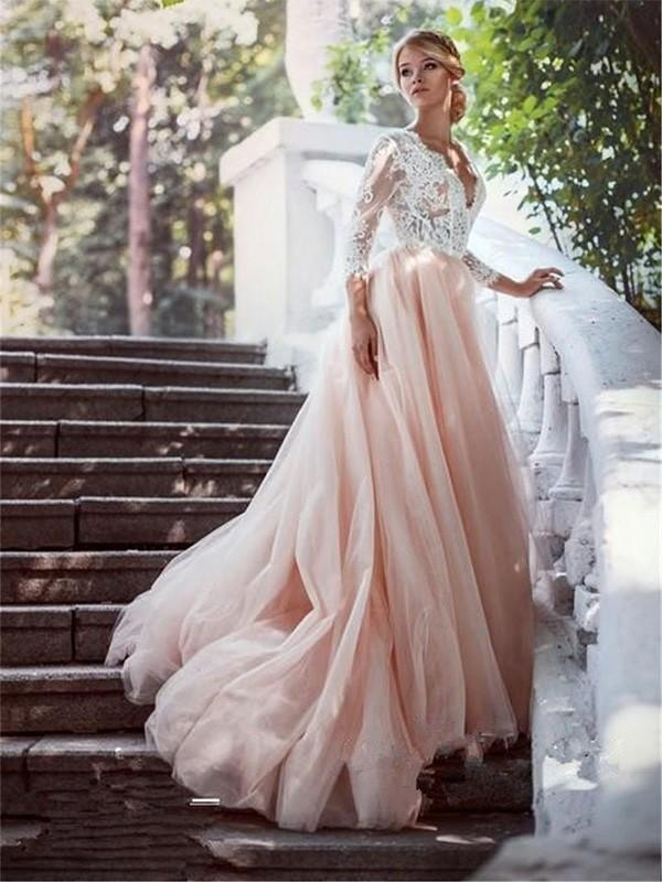 Champagne Skirt Long Sleeves Lace A-line Cheap Wedding Dresses Online, WD401