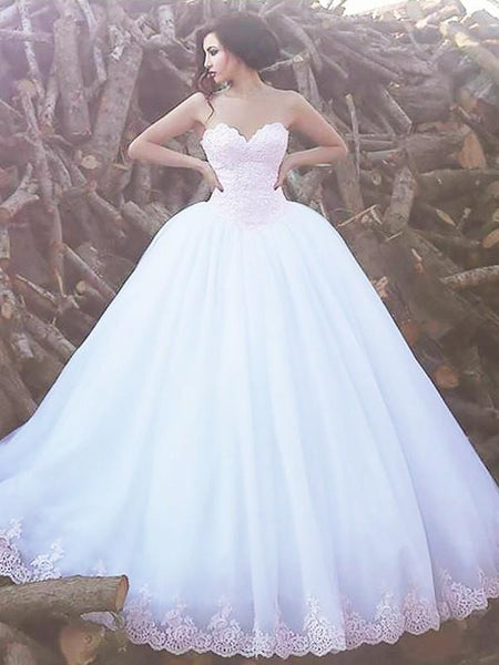 Simple Strapless Lace Beaded A line Cheap Wedding Dresses Online, WD429