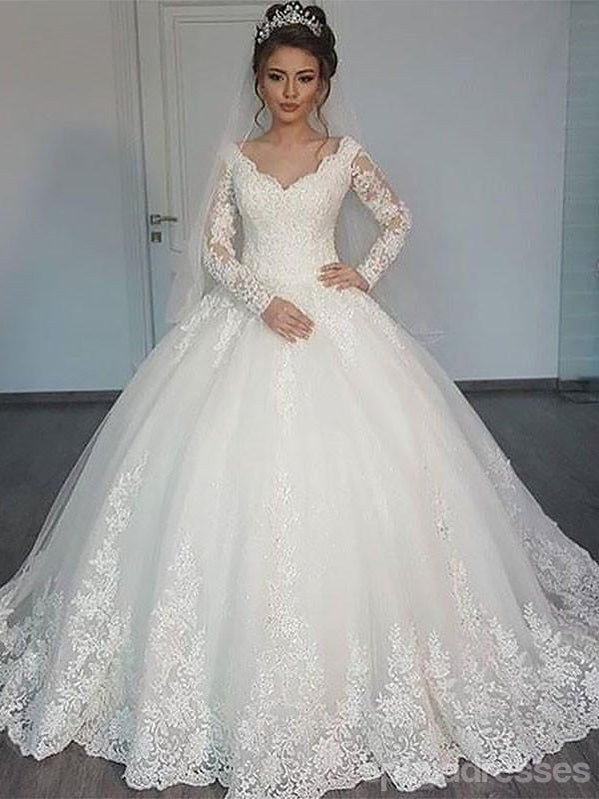 Long Sleeves Lace Ball Gown Wedding Dresses Online Cheap Lace