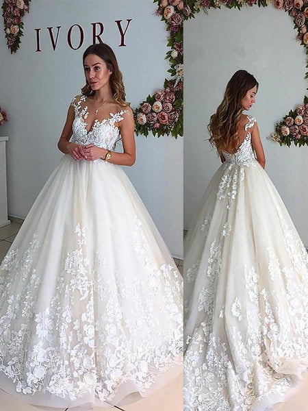 Sexy Backless Cap Sleeve Lace A line Cheap Wedding Dresses Online, WD402