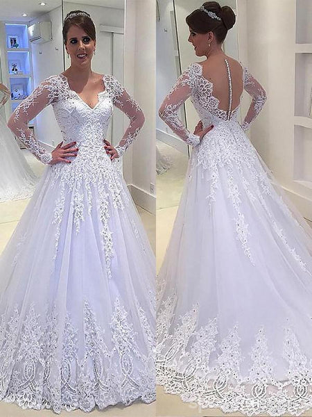 Long Sleeves White A-line Wedding Dresses Online, Sexy See Through Lace Bridal Dresses, WD449