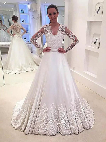 See Through Lace Long Sleeves A-line Wedding Dresses Online, Cheap Lace Bridal Dresses, WD451