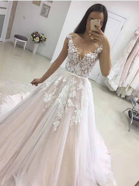 See Through Cap Sleeves A-line Wedding Dresses Online, Cheap Champagne Bridal Dresses, WD454
